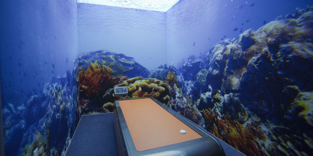 Plafond et murs imprimés en sublimation par Figarol pour le Spa 5 Sens à Los Angeles.