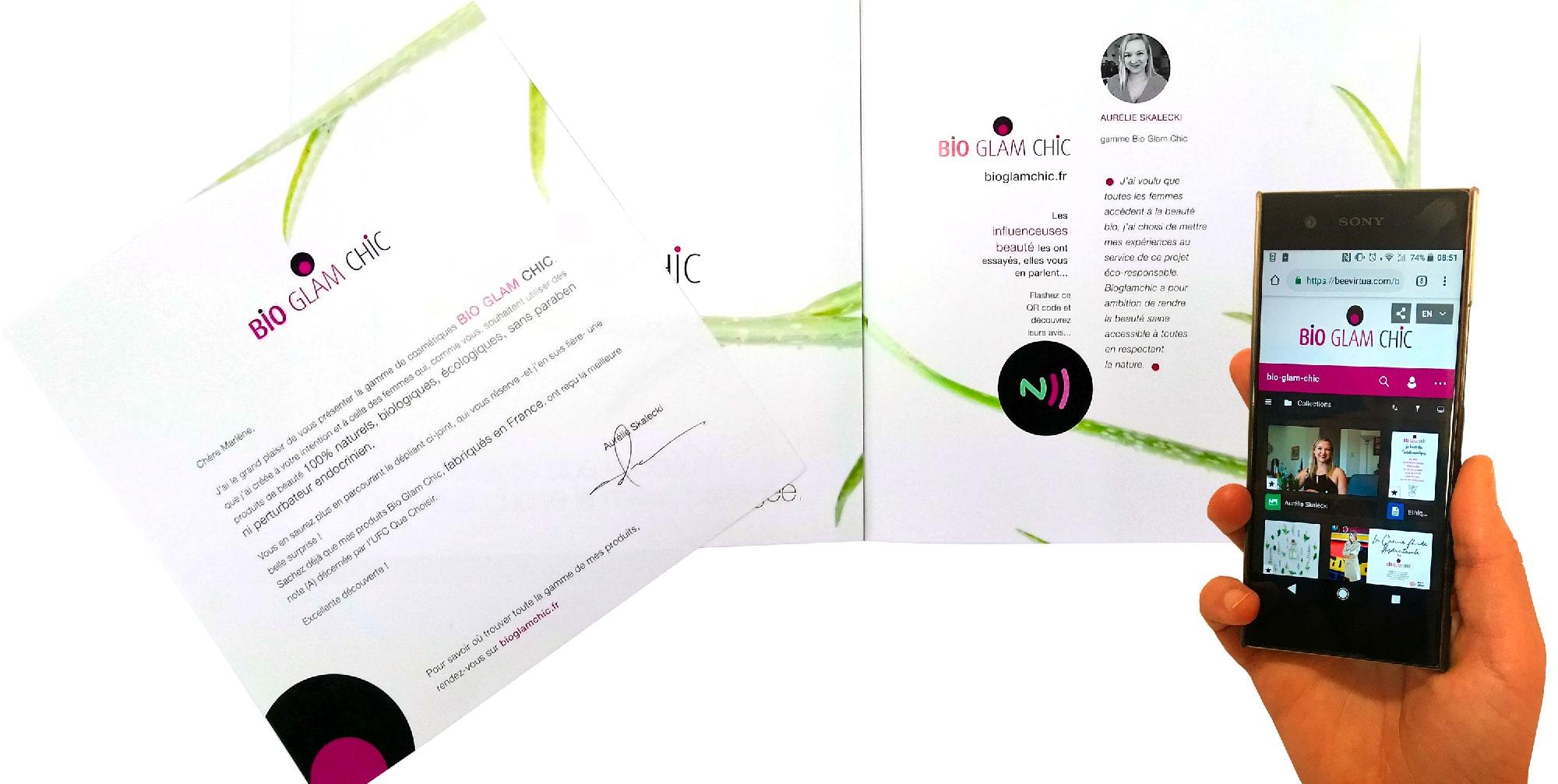 La société de cosmétiques Bio Glam Chic s'est adressée à l'imprimeur Paragon pour réaliser ce mailing connecté grâce à la technologie NFC.