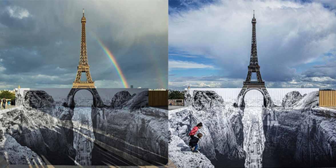 JR détourne la tour Eiffel avec une anamorphose géante.
